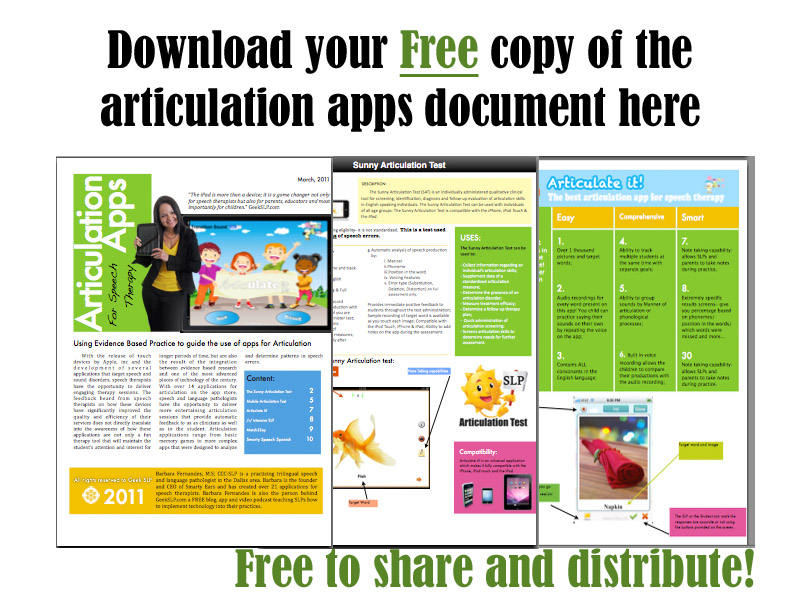 Articulation Apps by Smarty Ears Document: Free Download