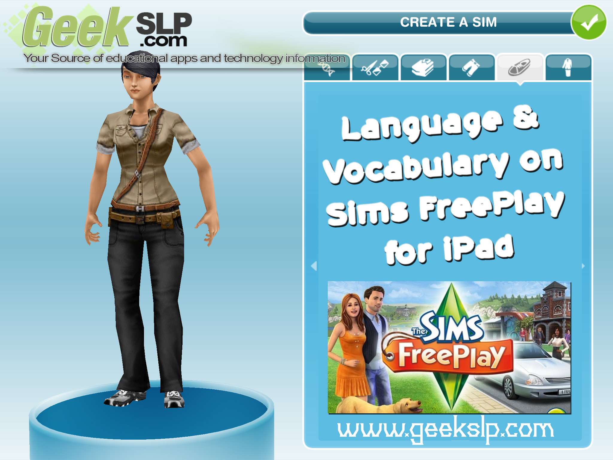 Language & Vocabulary on Sims FreePlay for iPad – GeekSLP